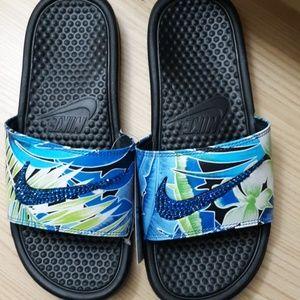 NEW custom Nike Benassi sandals blue bling